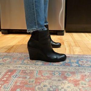 Michael Kors black wedge ankle booties